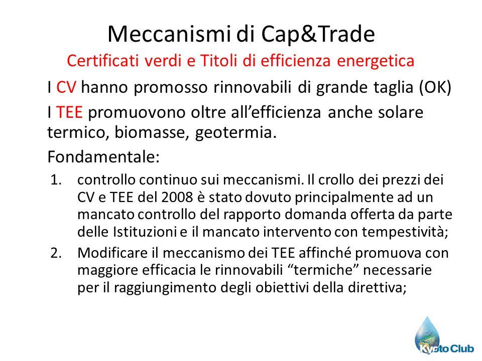 Meccanismi di Cap&Trade Certificati verdi e Titoli di efficienza energetica I CV hanno promosso rinnovabili di grande taglia (OK) I TEE promuovono olt