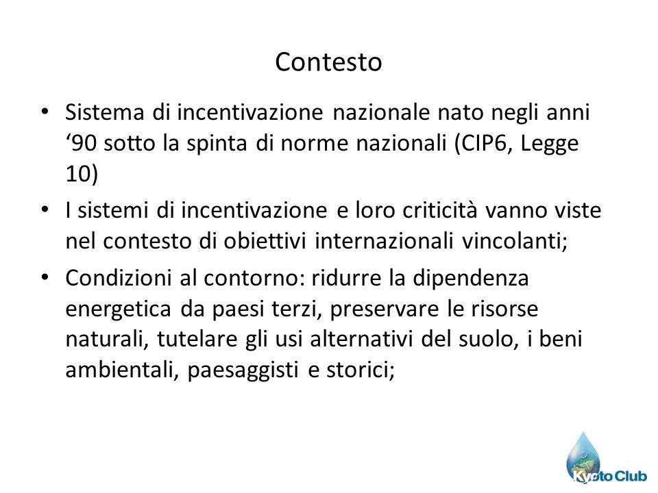 Contesto Sistema di incentivazione nazionale nato negli anni 90 sotto la spinta di norme nazionali (CIP6, Legge 10) I sistemi di incentivazione e loro