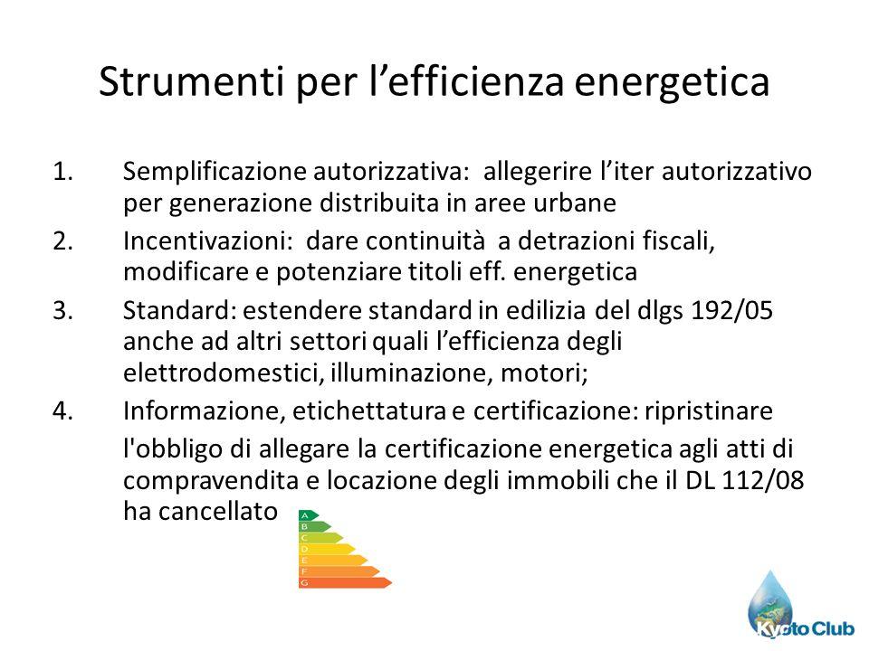 Strumenti per lefficienza energetica 1.Semplificazione autorizzativa: allegerire liter autorizzativo per generazione distribuita in aree urbane 2.Ince