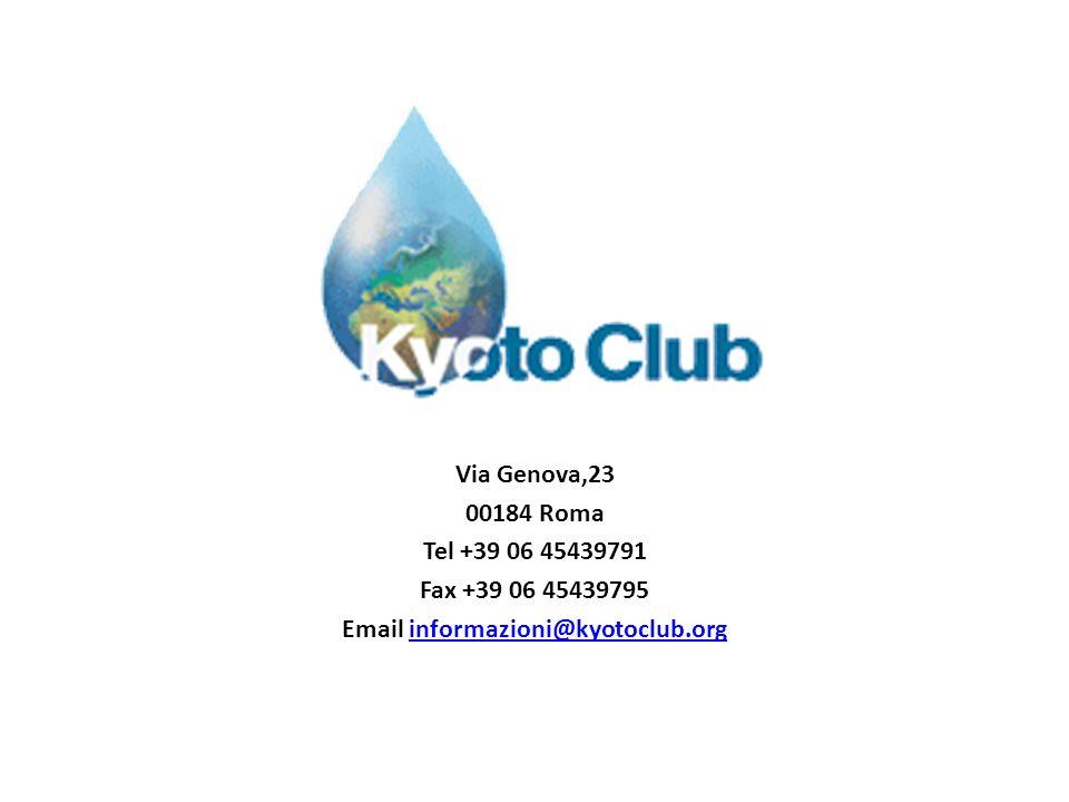 Via Genova,23 00184 Roma Tel +39 06 45439791 Fax +39 06 45439795 Email informazioni@kyotoclub.orginformazioni@kyotoclub.org