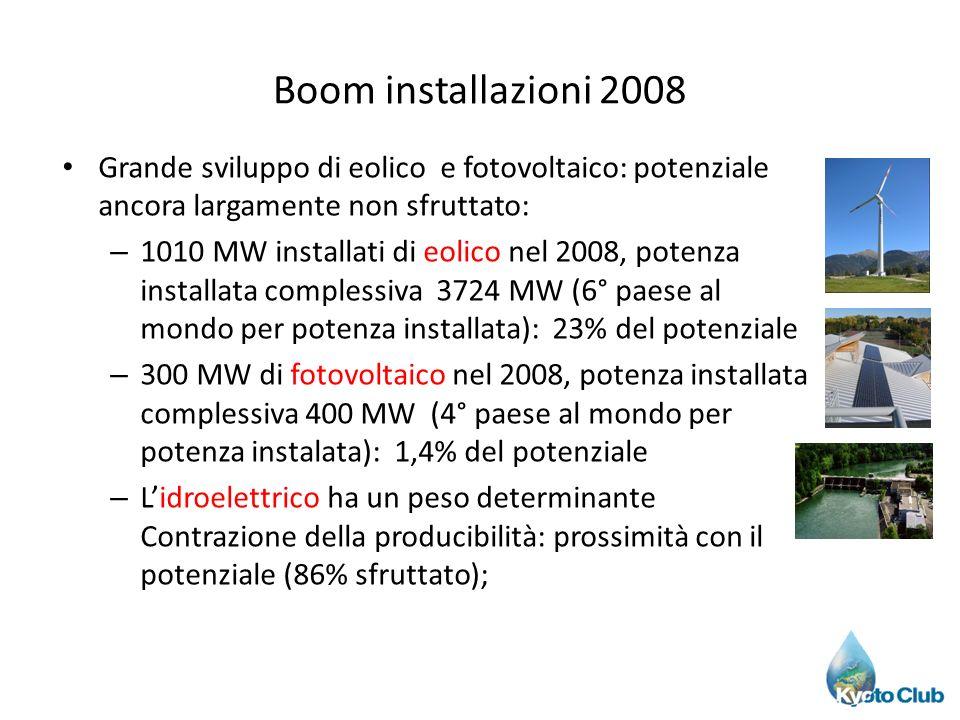 Boom installazioni 2008 Grande sviluppo di eolico e fotovoltaico: potenziale ancora largamente non sfruttato: – 1010 MW installati di eolico nel 2008,