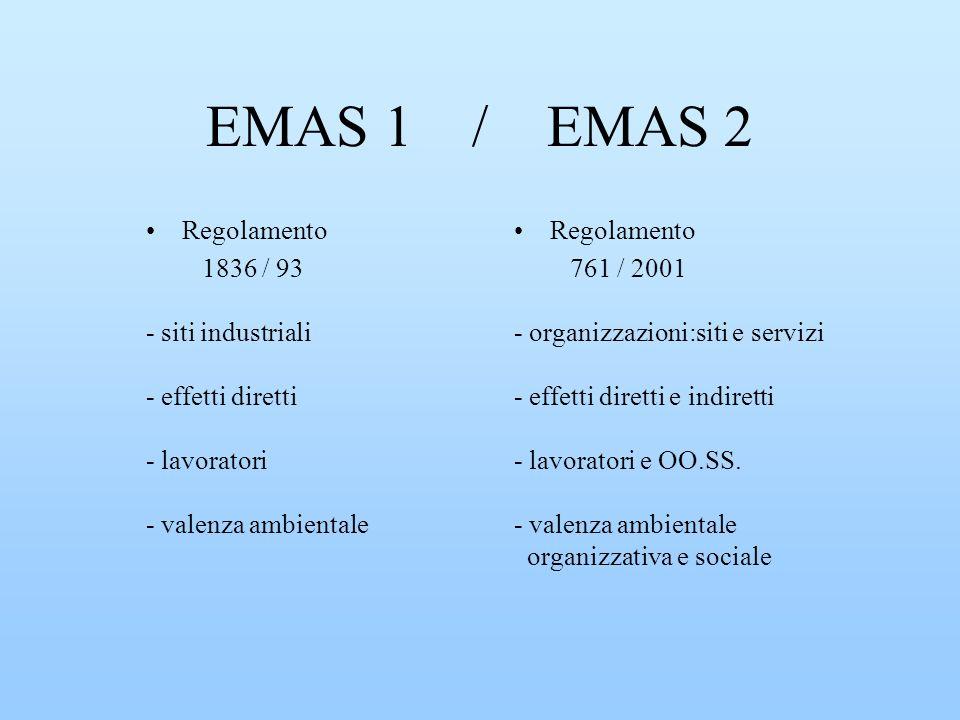 EMAS 1 / EMAS 2 Regolamento 1836 / 93 - siti industriali - effetti diretti - lavoratori - valenza ambientale Regolamento 761 / 2001 - organizzazioni:s
