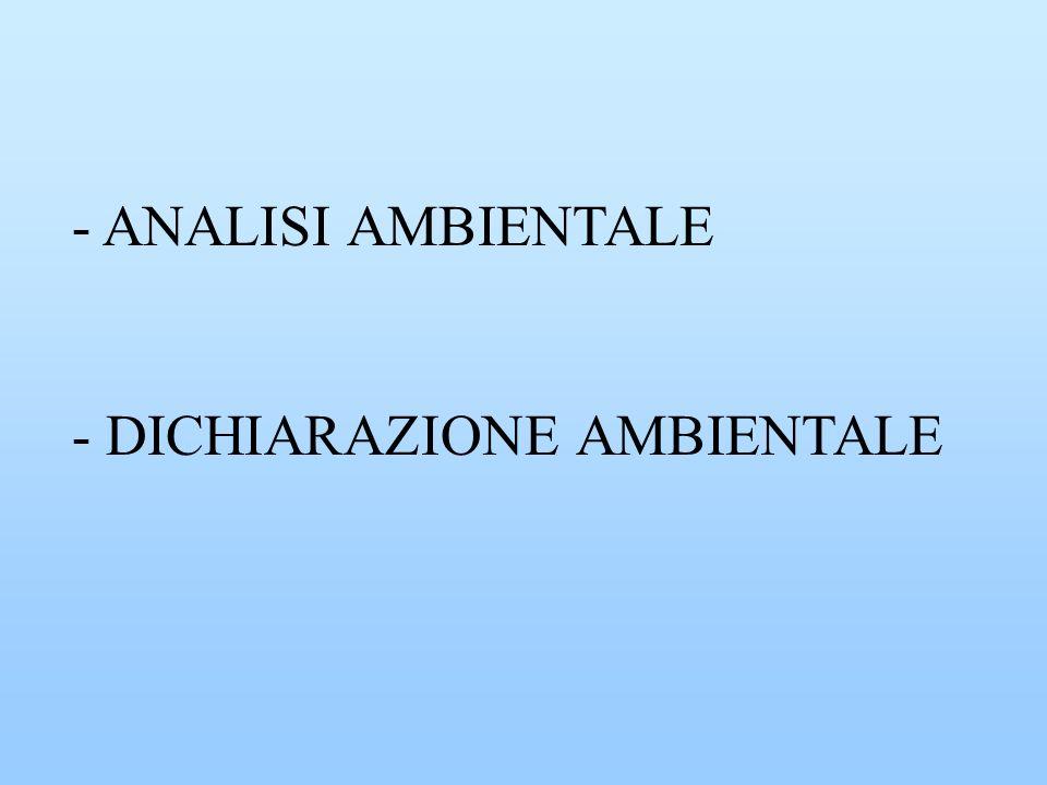 - ANALISI AMBIENTALE - DICHIARAZIONE AMBIENTALE