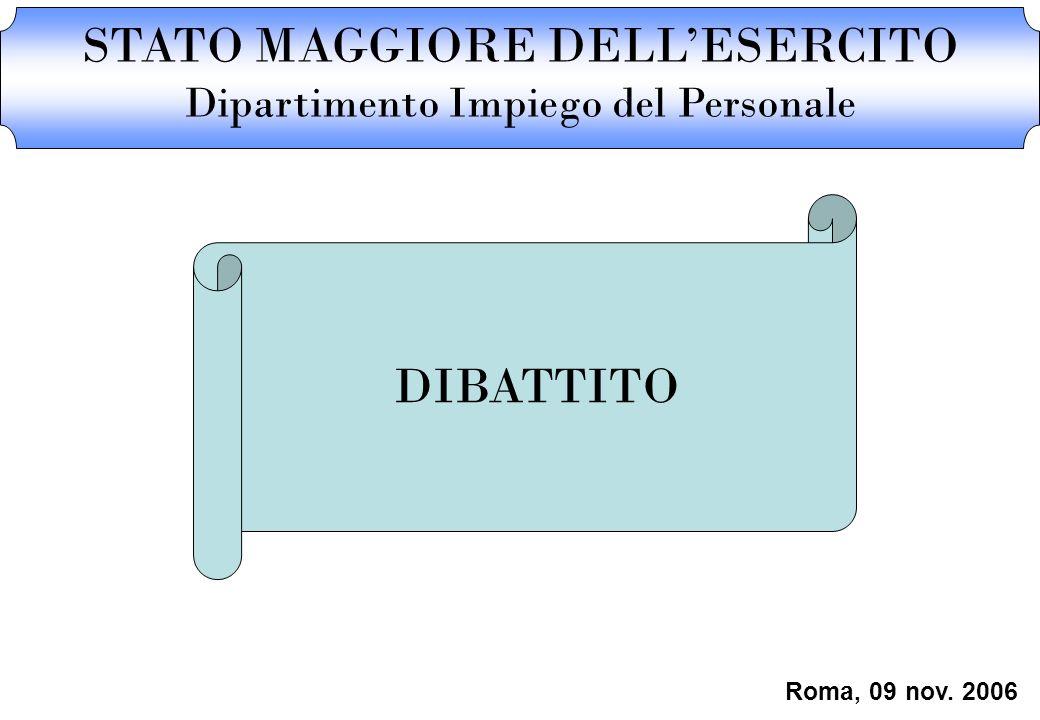 STATO MAGGIORE DELLESERCITO Dipartimento Impiego del Personale DIBATTITO Roma, 09 nov. 2006