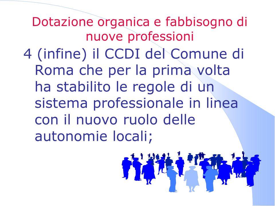 Dotazione organica e fabbisogno di nuove professioni 4 (infine) il CCDI del Comune di Roma che per la prima volta ha stabilito le regole di un sistema professionale in linea con il nuovo ruolo delle autonomie locali;