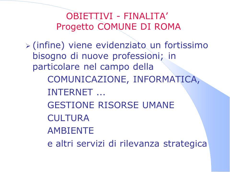 OBIETTIVI - FINALITA Progetto COMUNE DI ROMA (infine) viene evidenziato un fortissimo bisogno di nuove professioni; in particolare nel campo della COM