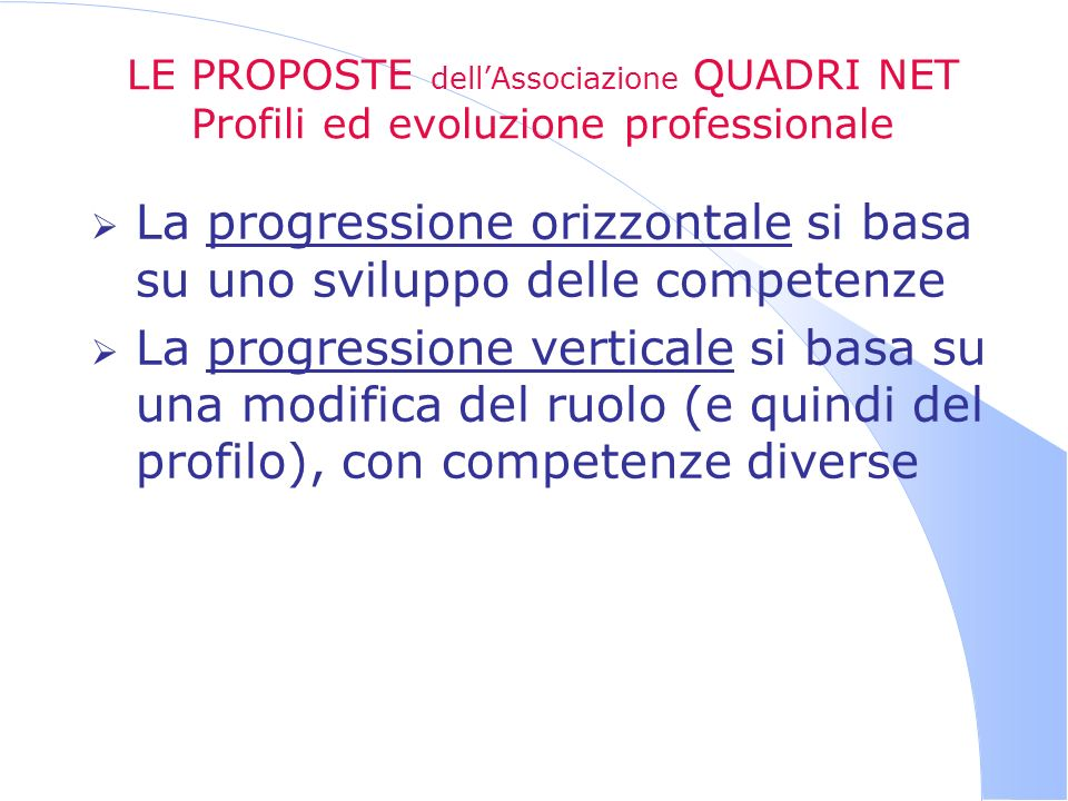 LE PROPOSTE dellAssociazione QUADRI NET Profili ed evoluzione professionale La progressione orizzontale si basa su uno sviluppo delle competenze La pr