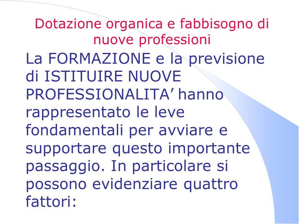 Dotazione organica e fabbisogno di nuove professioni La FORMAZIONE e la previsione di ISTITUIRE NUOVE PROFESSIONALITA hanno rappresentato le leve fond