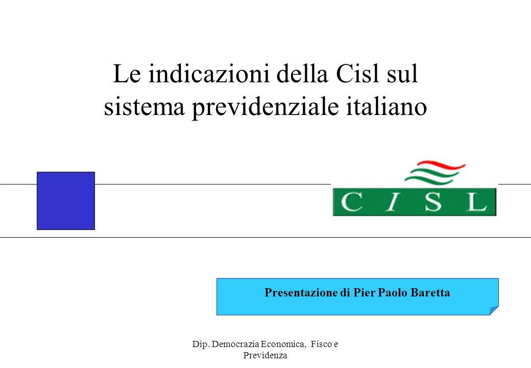 Dip. Democrazia Economica, Fisco e Previdenza Presentazione di Pier Paolo Baretta Le indicazioni della Cisl sul sistema previdenziale italiano