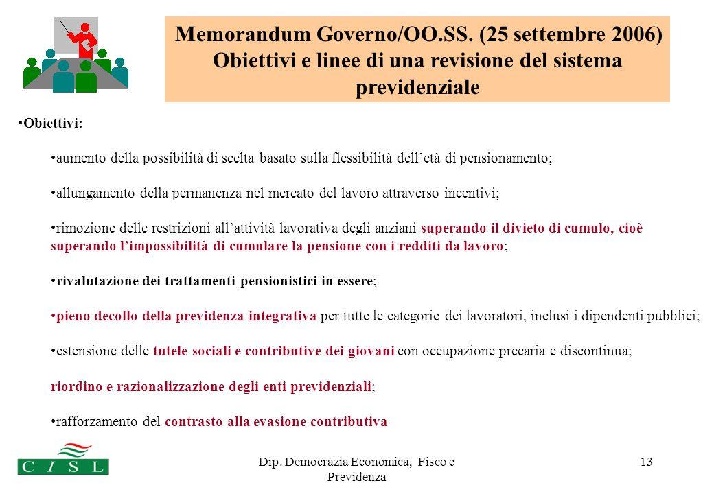 Dip. Democrazia Economica, Fisco e Previdenza 13 Obiettivi: aumento della possibilità di scelta basato sulla flessibilità delletà di pensionamento; al