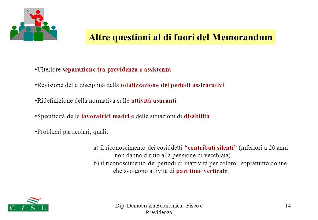 Dip. Democrazia Economica, Fisco e Previdenza 14 Ulteriore separazione tra previdenza e assistenza Revisione della disciplina della totalizzazione dei
