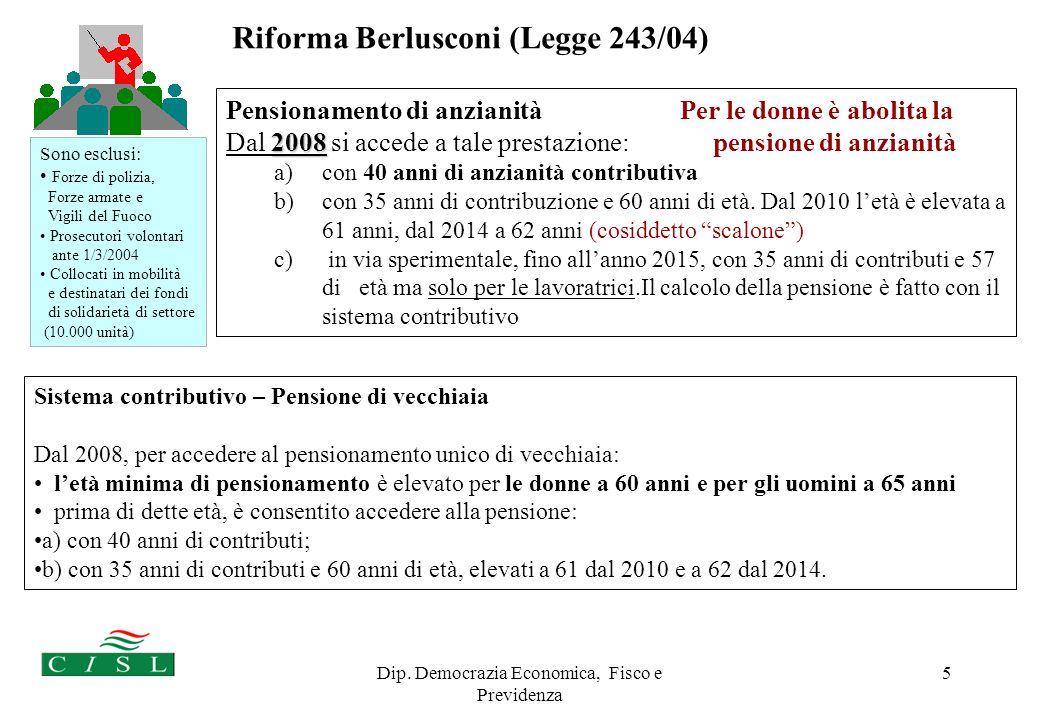 Dip. Democrazia Economica, Fisco e Previdenza 5 Pensionamento di anzianità Per le donne è abolita la 2008 Dal 2008 si accede a tale prestazione: pensi