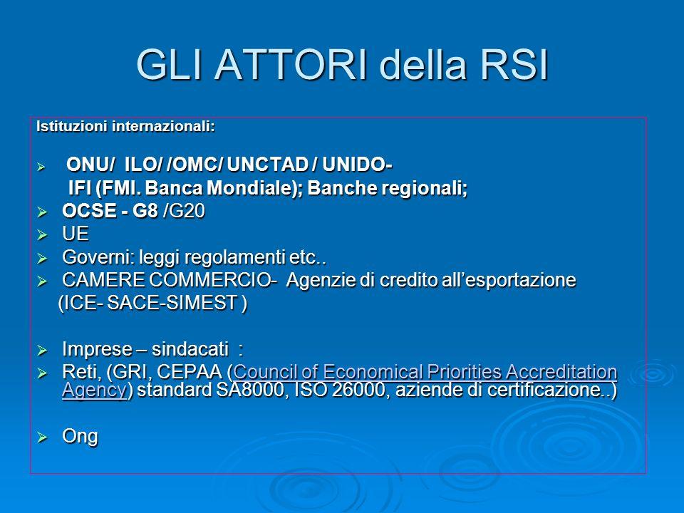 GLI ATTORI della RSI Istituzioni internazionali: ONU/ ILO/ /OMC/ UNCTAD / UNIDO- ONU/ ILO/ /OMC/ UNCTAD / UNIDO- IFI (FMI. Banca Mondiale); Banche reg