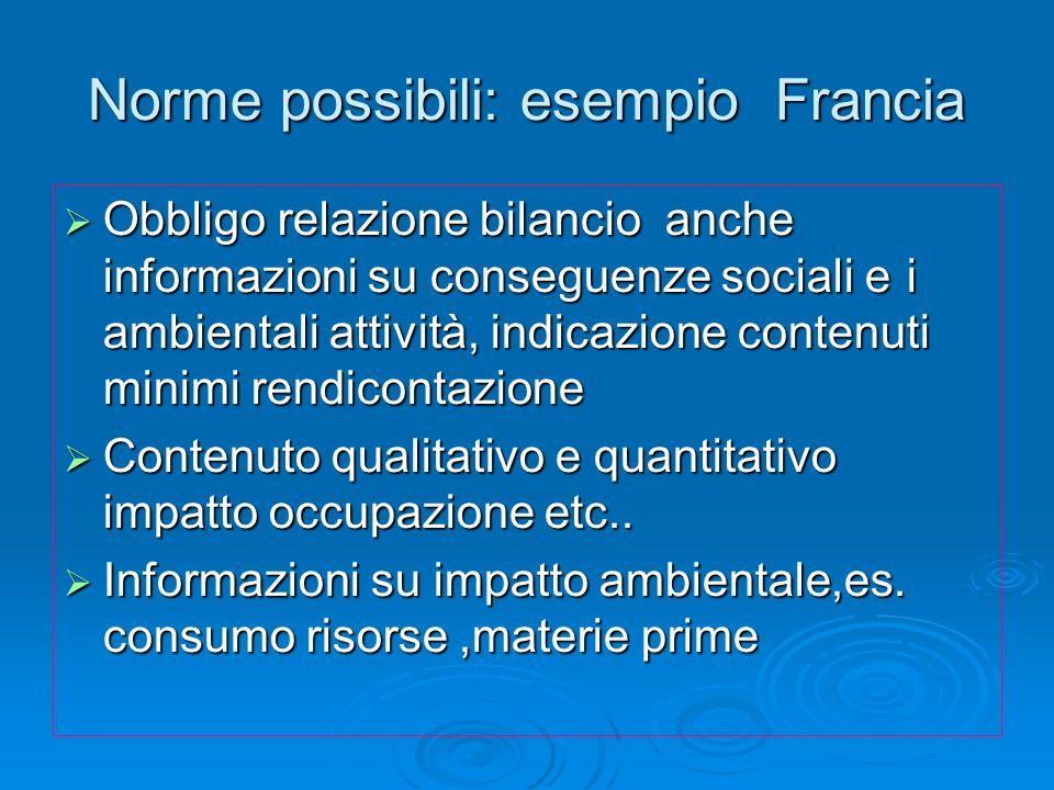Norme possibili: esempio Francia Obbligo relazione bilancio anche informazioni su conseguenze sociali ei ambientali attività, indicazione contenuti mi