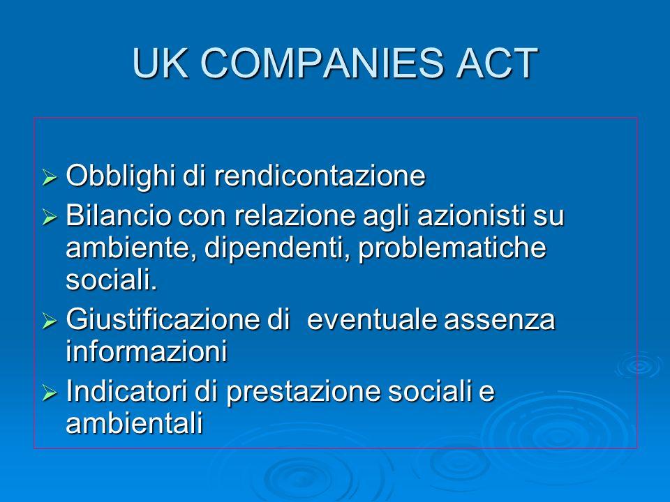 UK COMPANIES ACT Obblighi di rendicontazione Obblighi di rendicontazione Bilancio con relazione agli azionisti su ambiente, dipendenti, problematiche