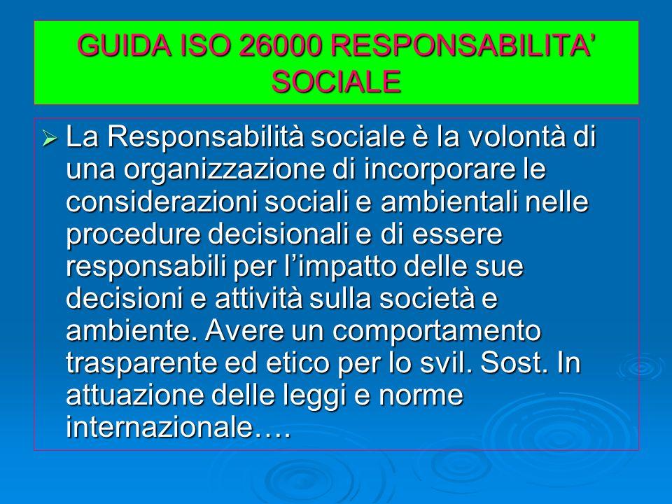 GUIDA ISO 26000 RESPONSABILITA SOCIALE La Responsabilità sociale è la volontà di una organizzazione di incorporare le considerazioni sociali e ambient
