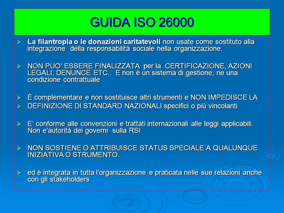 GUIDA ISO 26000 La filantropia o le donazioni caritatevoli non usate come sostituto alla integrazione della responsabilità sociale nella organizzazion
