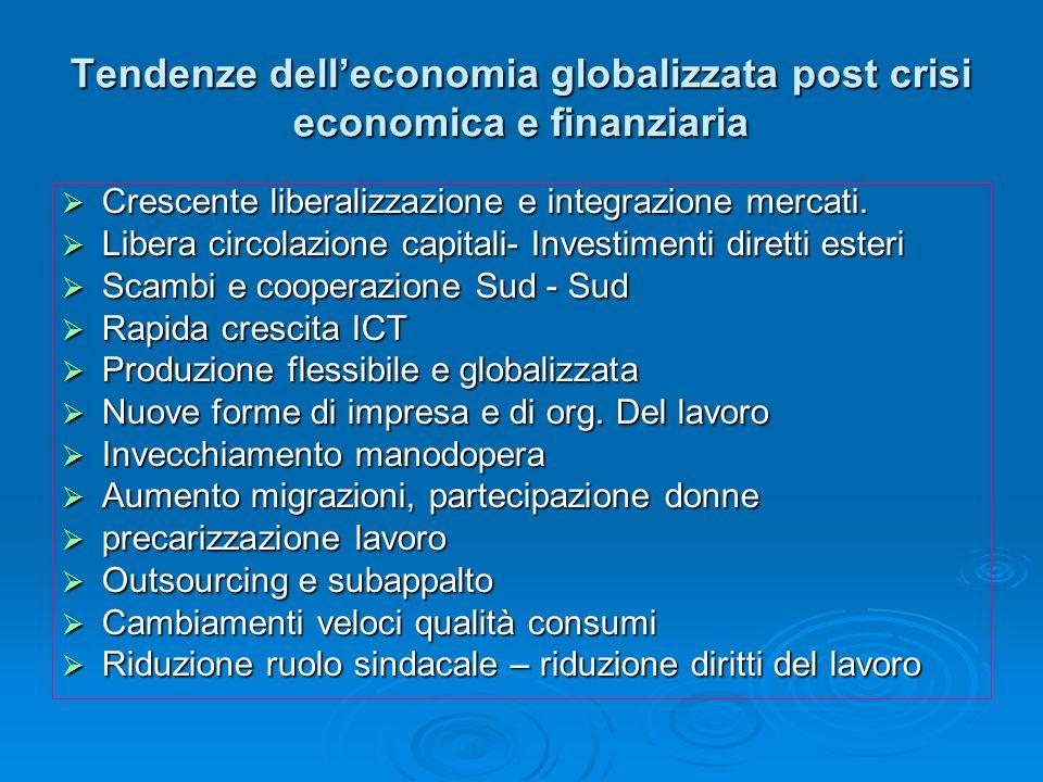 Tendenze delleconomia globalizzata post crisi economica e finanziaria Crescente liberalizzazione e integrazione mercati. Crescente liberalizzazione e
