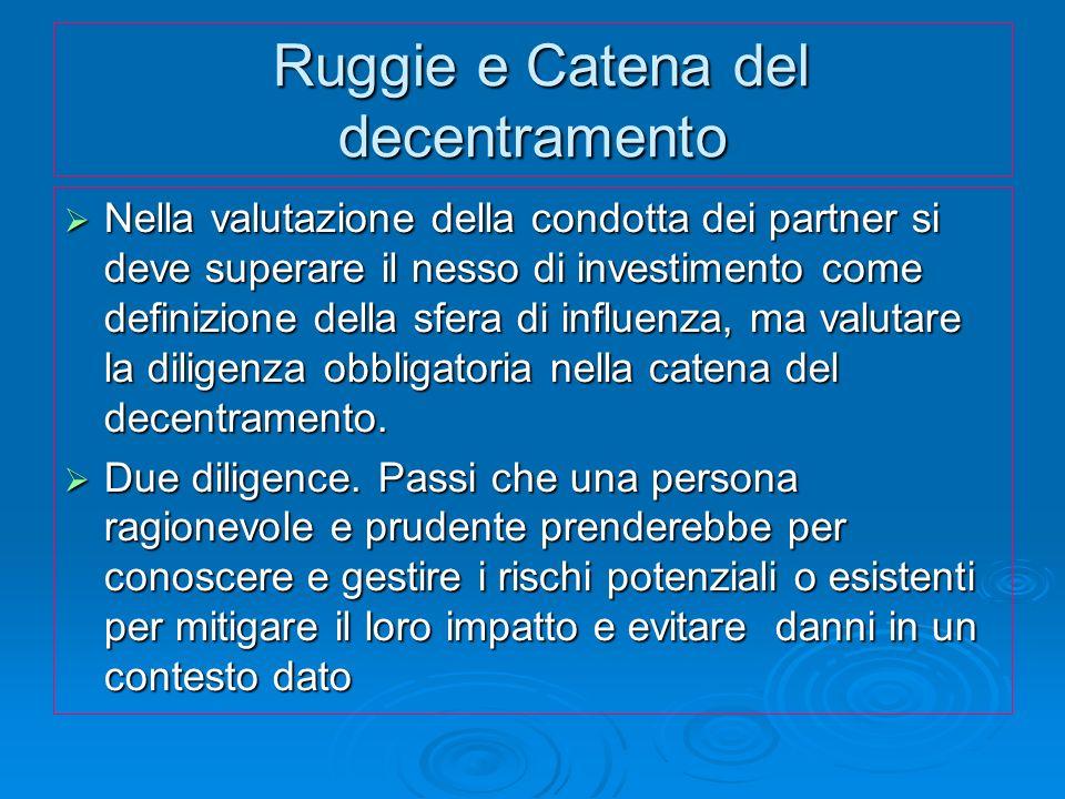 Ruggie e Catena del decentramento Ruggie e Catena del decentramento Nella valutazione della condotta dei partner si deve superare il nesso di investim