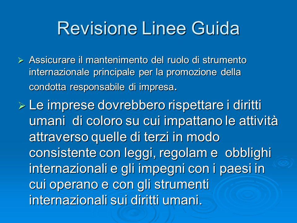 Revisione Linee Guida Assicurare il mantenimento del ruolo di strumento internazionale principale per la promozione della condotta responsabile di imp