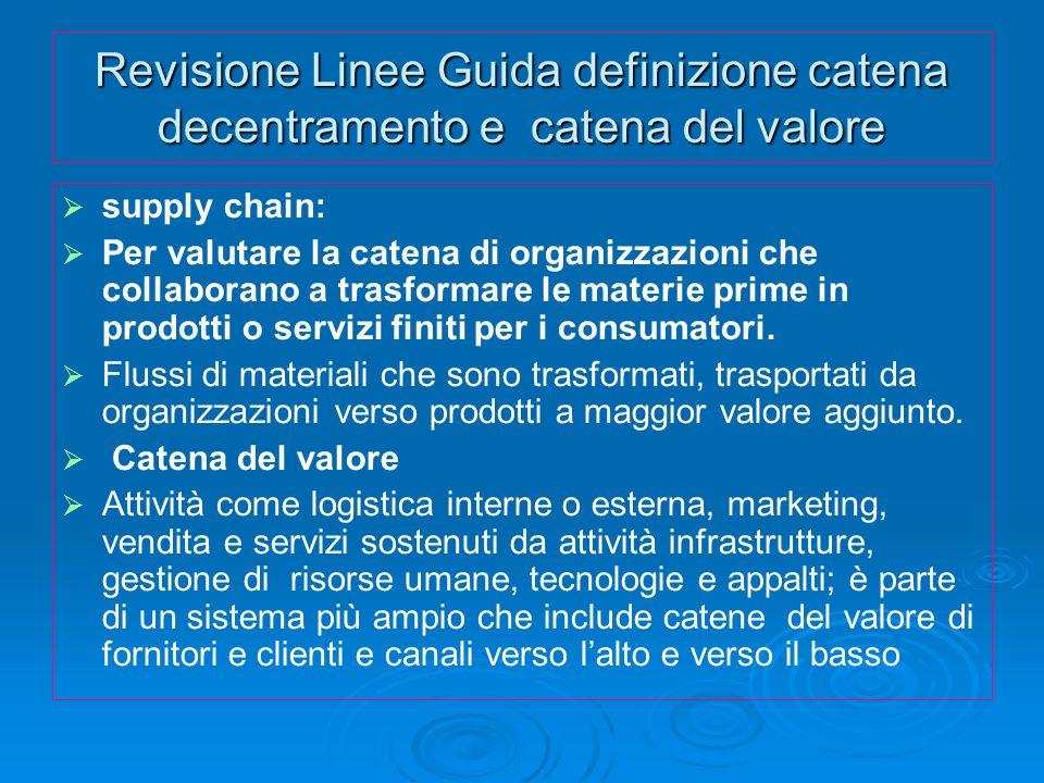 Revisione Linee Guida definizione catena decentramento e catena del valore supply chain: Per valutare la catena di organizzazioni che collaborano a tr