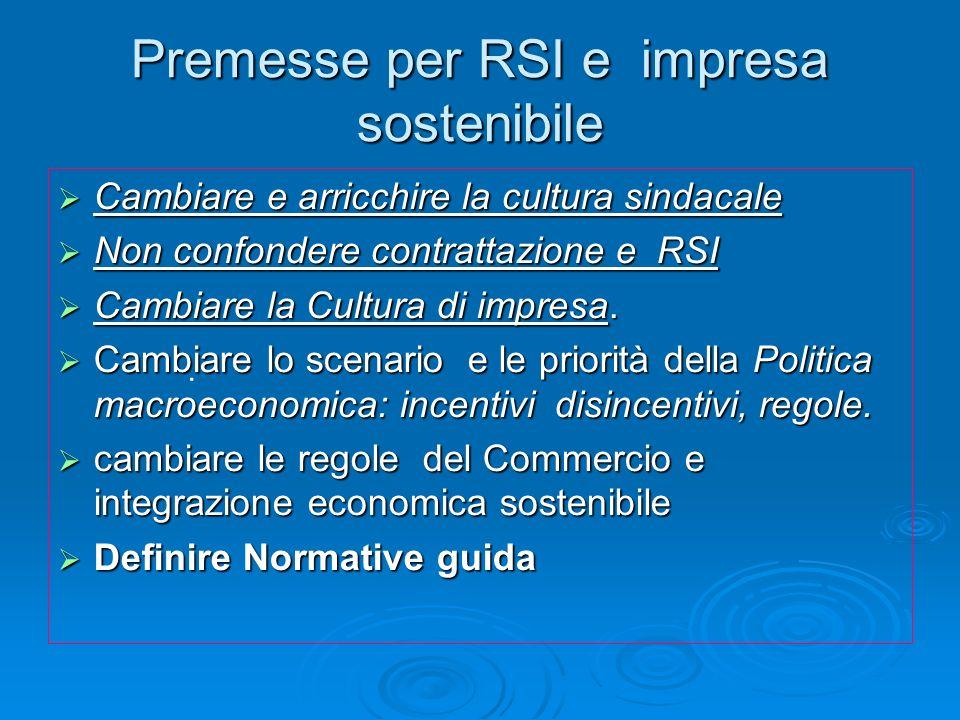 Premesse per RSI e impresa sostenibile Cambiare e arricchire la cultura sindacale Cambiare e arricchire la cultura sindacale Non confondere contrattaz