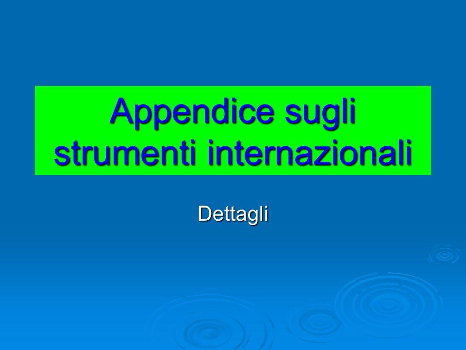 Appendice sugli strumenti internazionali Dettagli