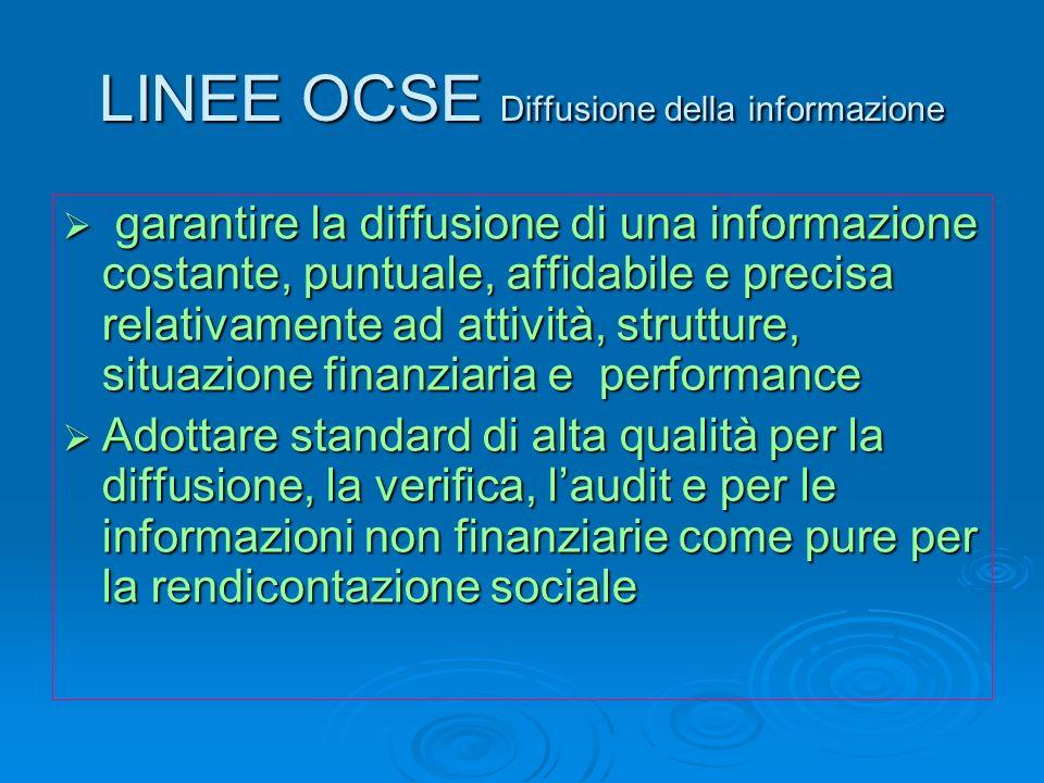 LINEE OCSE Diffusione della informazione garantire la diffusione di una informazione costante, puntuale, affidabile e precisa relativamente ad attivit