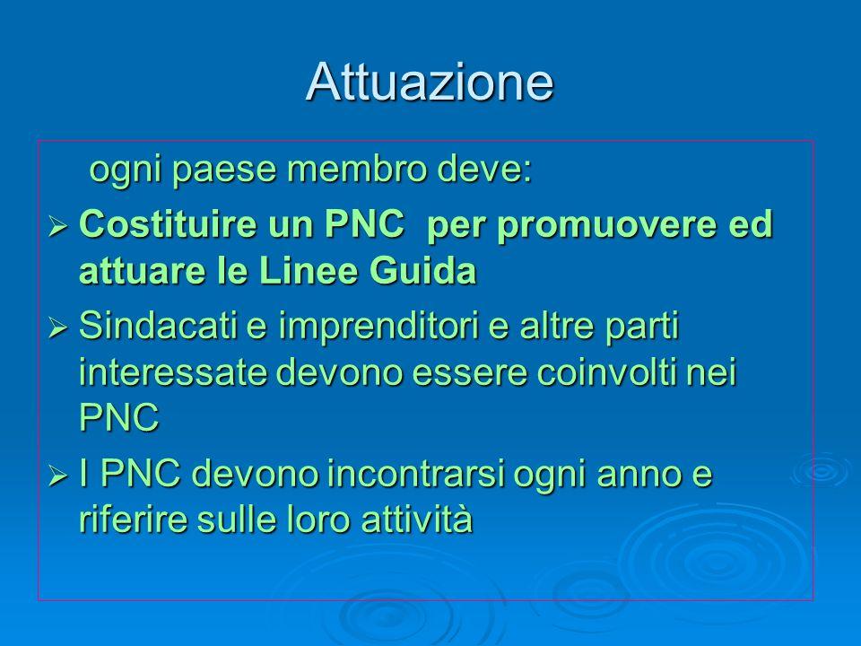 Attuazione ogni paese membro deve: ogni paese membro deve: Costituire un PNC per promuovere ed attuare le Linee Guida Costituire un PNC per promuovere