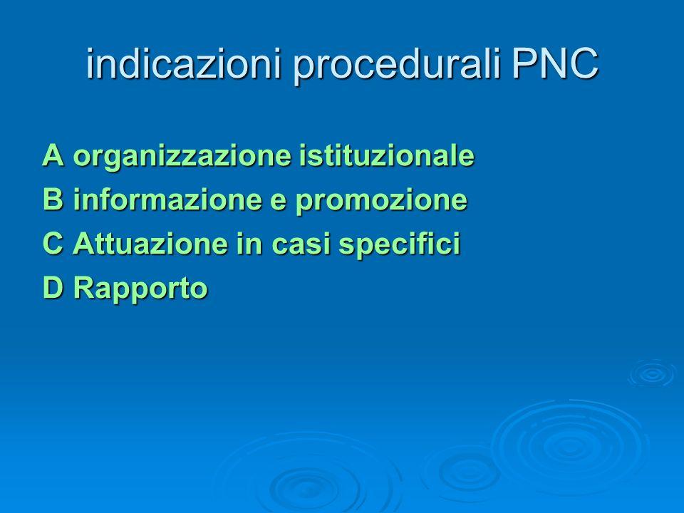indicazioni procedurali PNC A organizzazione istituzionale B informazione e promozione C Attuazione in casi specifici D Rapporto