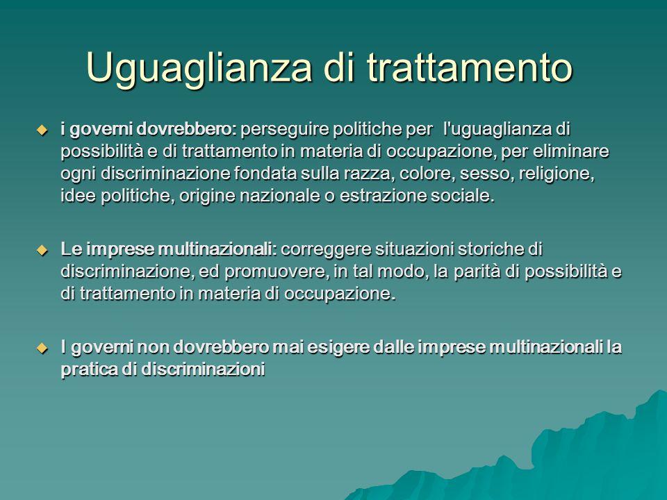 Uguaglianza di trattamento i governi dovrebbero: perseguire politiche per l'uguaglianza di possibilità e di trattamento in materia di occupazione, per