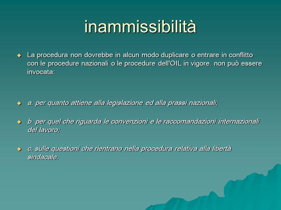 inammissibilità La procedura non dovrebbe in alcun modo duplicare o entrare in conflitto con le procedure nazionali o le procedure dell'OIL in vigore.