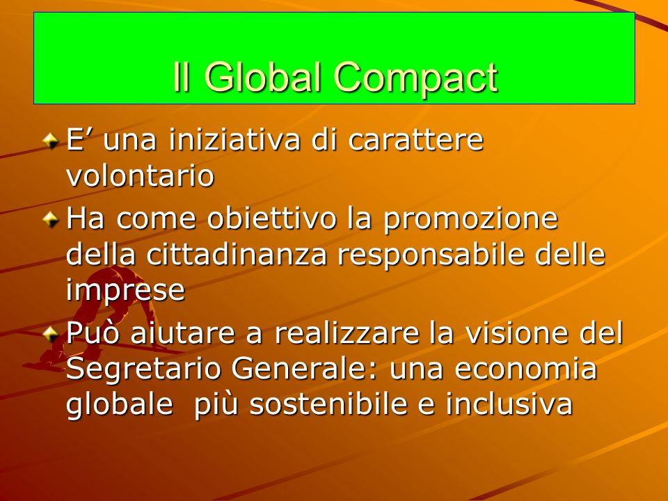 Il Global Compact E una iniziativa di carattere volontario Ha come obiettivo la promozione della cittadinanza responsabile delle imprese Può aiutare a