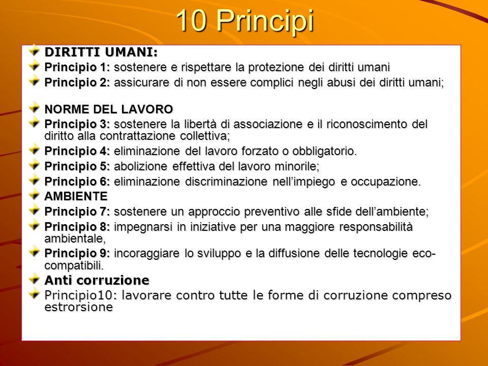 10 Principi DIRITTI UMANI: Principio 1: sostenere e rispettare la protezione dei diritti umani Principio 2: assicurare di non essere complici negli ab