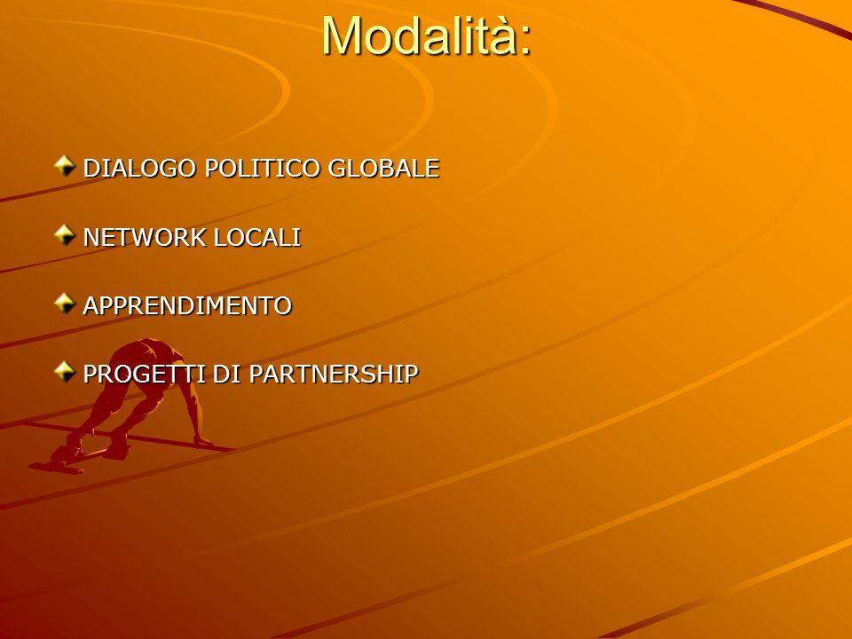 Modalità: DIALOGO POLITICO GLOBALE NETWORK LOCALI APPRENDIMENTO PROGETTI DI PARTNERSHIP