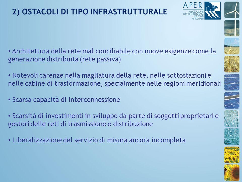 6 2) OSTACOLI DI TIPO INFRASTRUTTURALE Architettura della rete mal conciliabile con nuove esigenze come la generazione distribuita (rete passiva) Note