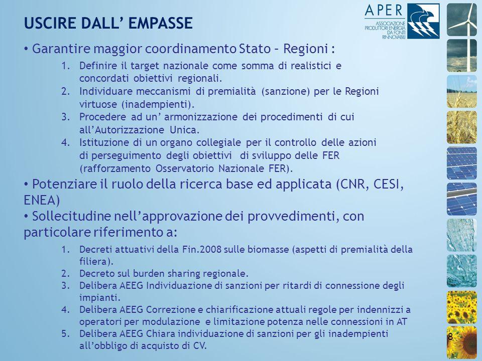 8 USCIRE DALL EMPASSE Garantire maggior coordinamento Stato – Regioni : 1.Definire il target nazionale come somma di realistici e concordati obiettivi