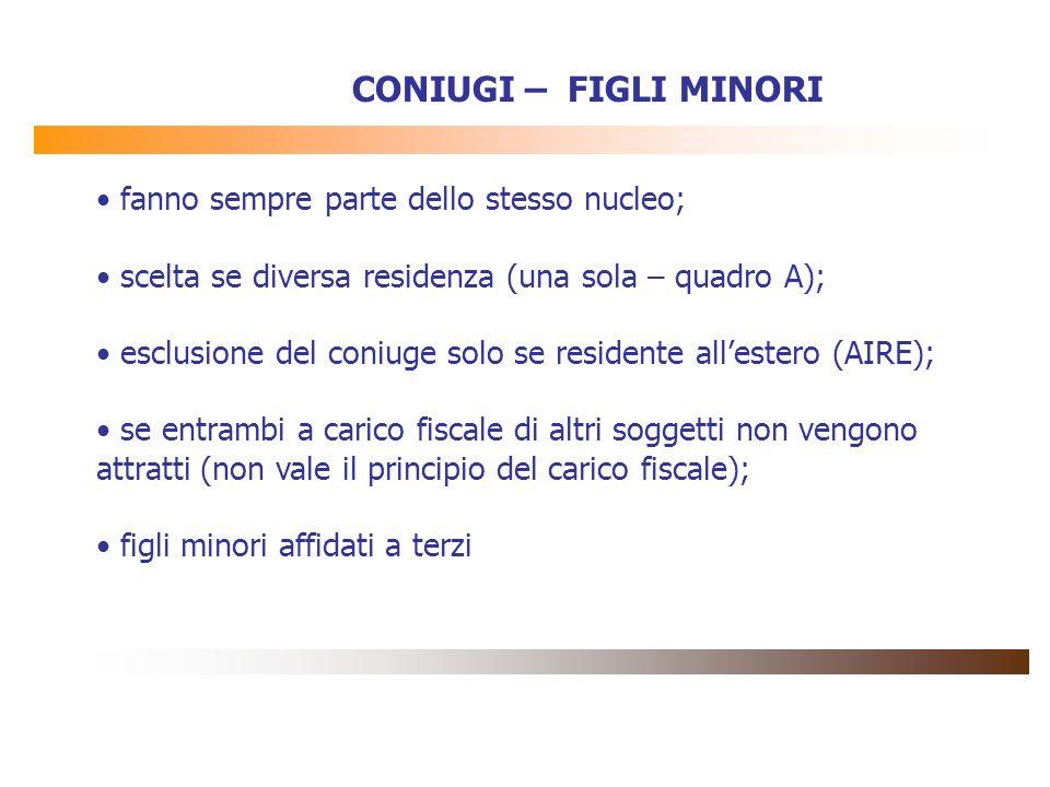 CONIUGI – FIGLI MINORI fanno sempre parte dello stesso nucleo; scelta se diversa residenza (una sola – quadro A); esclusione del coniuge solo se resid