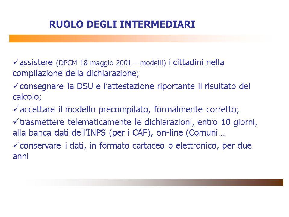 RUOLO DEGLI INTERMEDIARI assistere (DPCM 18 maggio 2001 – modelli) i cittadini nella compilazione della dichiarazione; consegnare la DSU e lattestazio