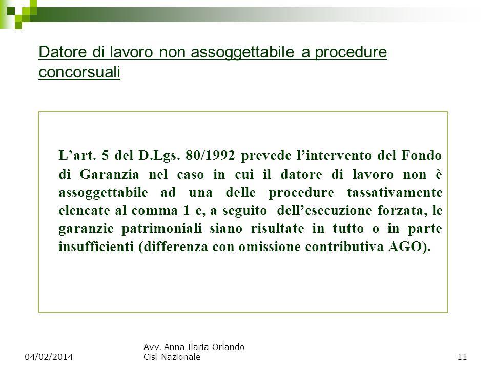 Datore di lavoro non assoggettabile a procedure concorsuali Lart. 5 del D.Lgs. 80/1992 prevede lintervento del Fondo di Garanzia nel caso in cui il da