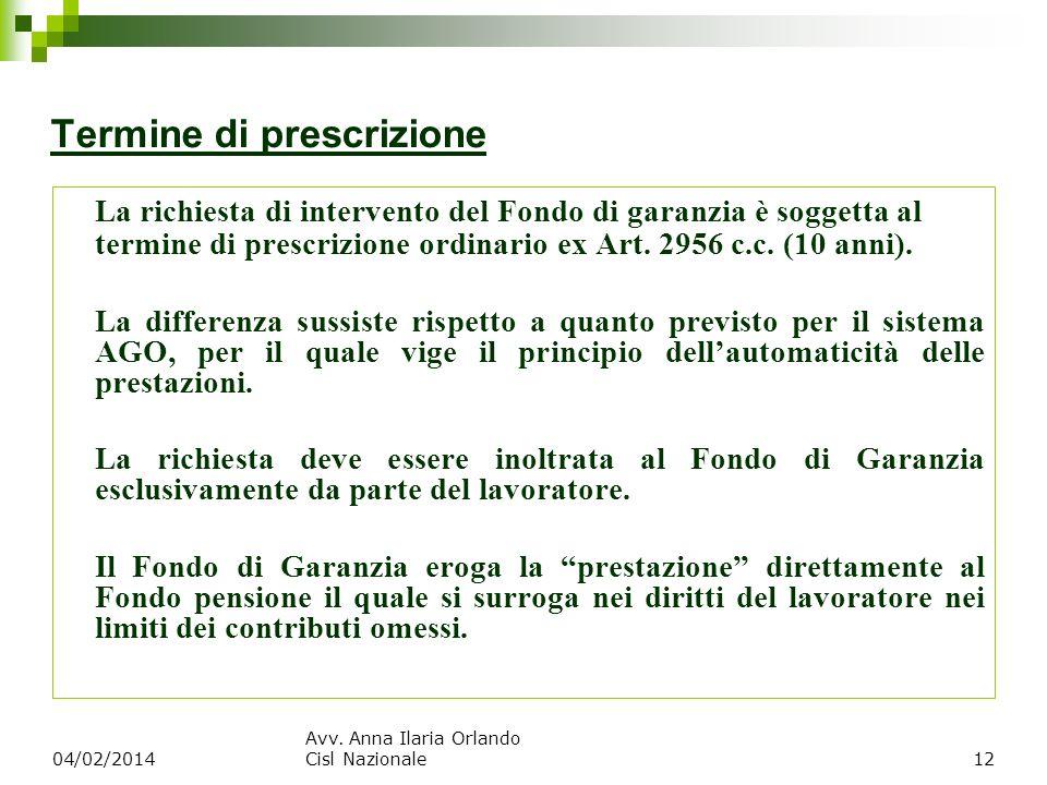 Termine di prescrizione La richiesta di intervento del Fondo di garanzia è soggetta al termine di prescrizione ordinario ex Art. 2956 c.c. (10 anni).