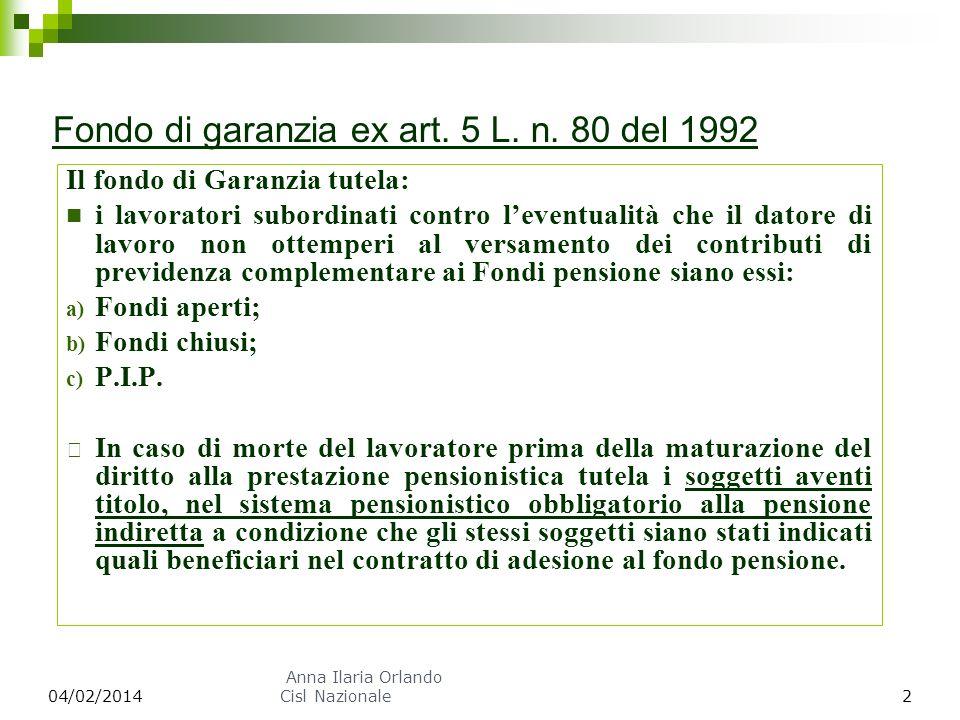 Fondo di garanzia ex art. 5 L. n. 80 del 1992 Il fondo di Garanzia tutela: i lavoratori subordinati contro leventualità che il datore di lavoro non ot