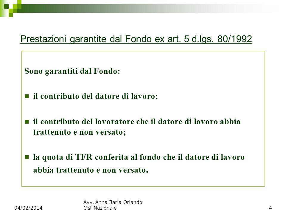Prestazioni garantite dal Fondo ex art. 5 d.lgs. 80/1992 Sono garantiti dal Fondo: il contributo del datore di lavoro; il contributo del lavoratore ch
