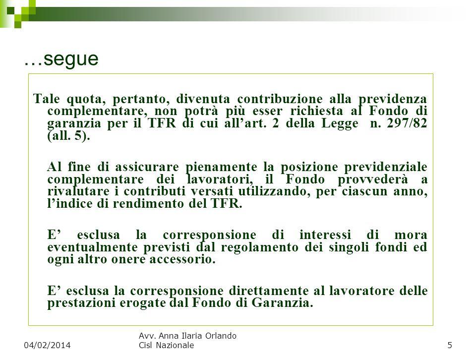 …segue Tale quota, pertanto, divenuta contribuzione alla previdenza complementare, non potrà più esser richiesta al Fondo di garanzia per il TFR di cu