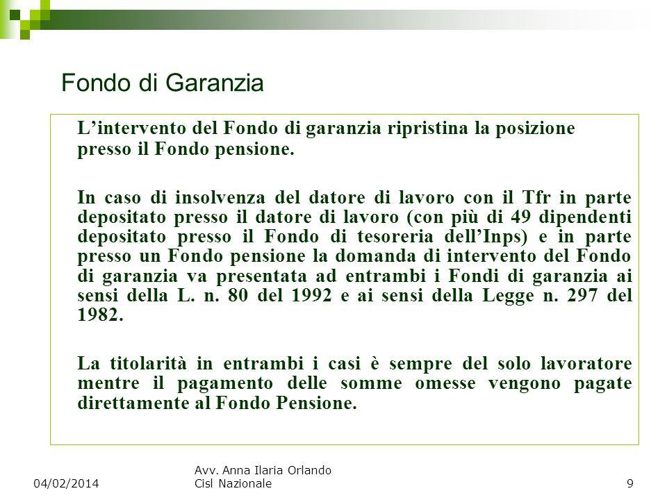 Fondo di Garanzia Lintervento del Fondo di garanzia ripristina la posizione presso il Fondo pensione. In caso di insolvenza del datore di lavoro con i