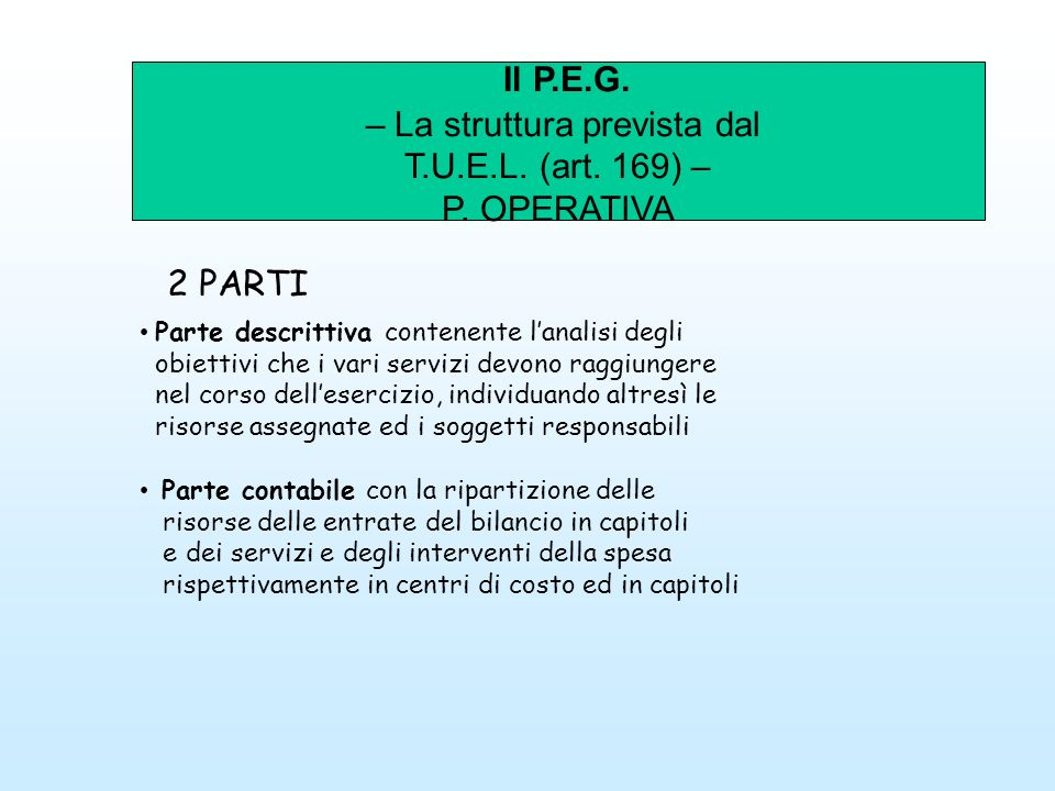 Il P.E.G. – La struttura prevista dal T.U.E.L. (art. 169) – P. OPERATIVA 2 PARTI Parte descrittiva contenente lanalisi degli obiettivi che i vari serv