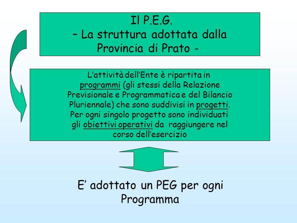 Il P.E.G. – La struttura adottata dalla Provincia di Prato - Lattività dellEnte è ripartita in programmi (gli stessi della Relazione Previsionale e Pr