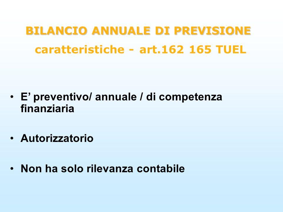 BILANCIO ANNUALE DI PREVISIONE BILANCIO ANNUALE DI PREVISIONE caratteristiche - art.162 165 TUEL E preventivo/ annuale / di competenza finanziaria Aut