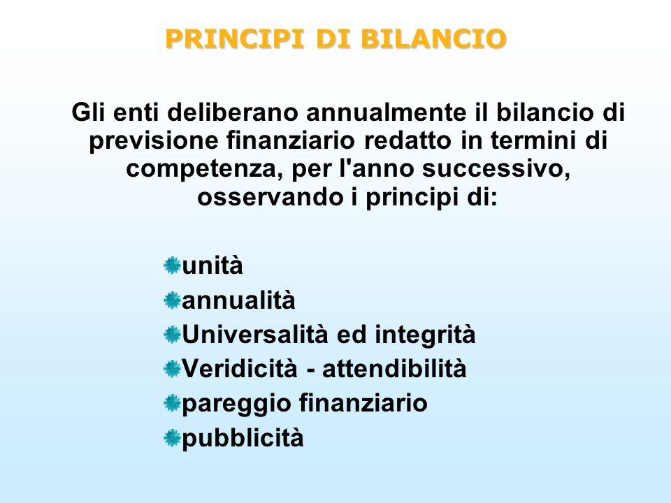 PRINCIPI DI BILANCIO Gli enti deliberano annualmente il bilancio di previsione finanziario redatto in termini di competenza, per l'anno successivo, os