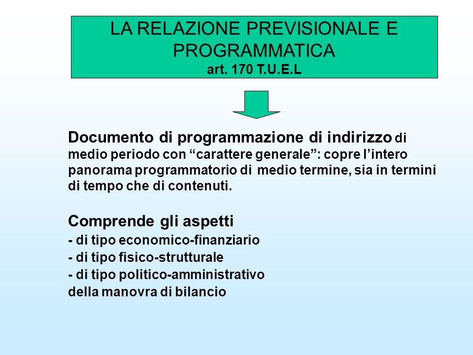 LA RELAZIONE PREVISIONALE E PROGRAMMATICA art. 170 T.U.E.L Documento di programmazione di indirizzo di medio periodo con carattere generale: copre lin